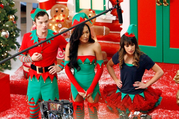 Chris Colfer, Lea Michele and Naya are Gleeful Elves